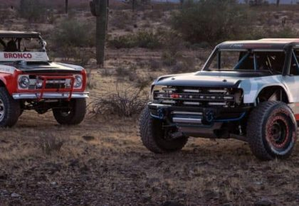 race bronco and old bronco