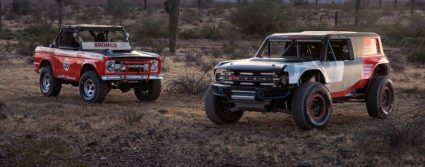 race bronco and old bronco