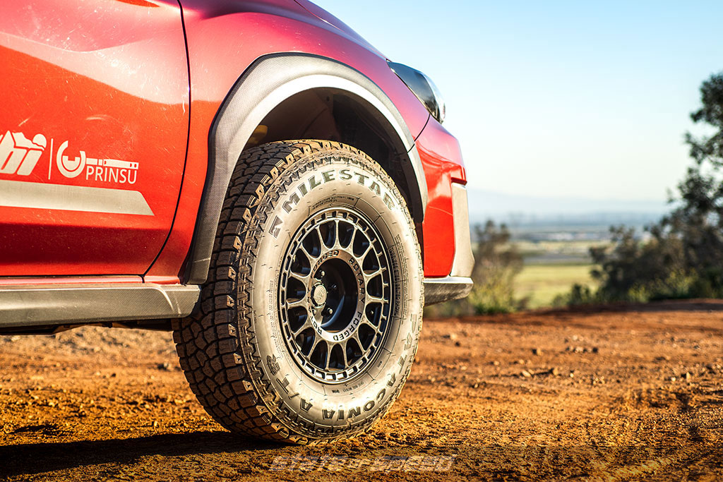 red subaru crosstrek overlander with patagonia atr offroad tires
