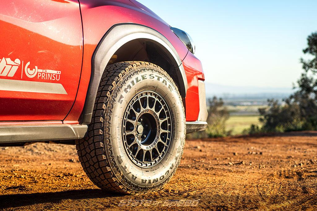 red subaru crosstrek overlander with patagonia atr offroad tires