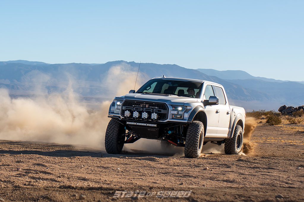 Gen 2 Ford Raptor doing donuts in the desert