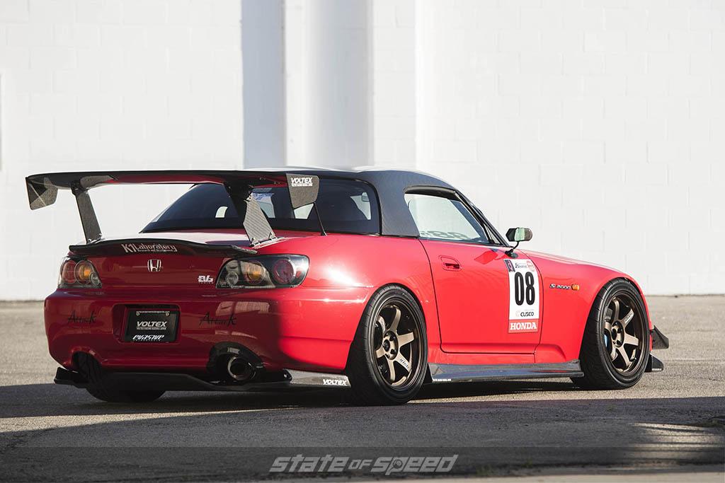 red honda s2000 lower rear 3/4 upgraded aero