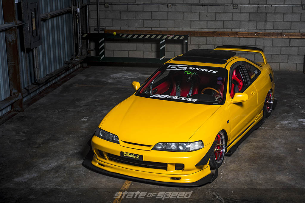 yellow acura integra on nankang tires