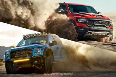 Ford Raptor vs RAM TRX desert running offroad