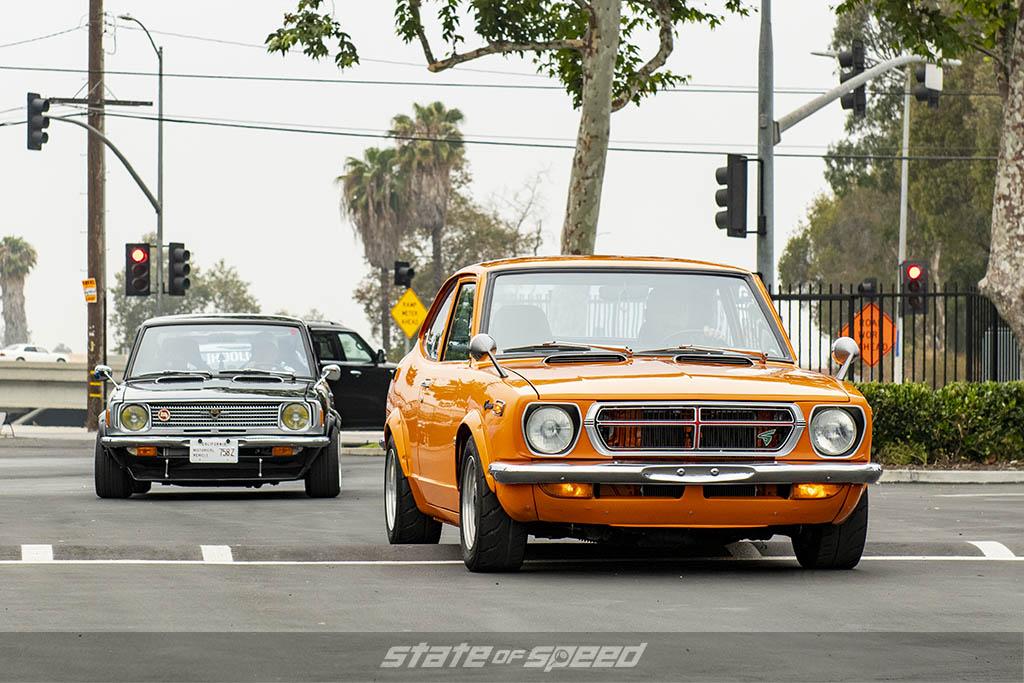 Black Toyota corolla and orange toyota sprinter at state of speed Los Angeles LA