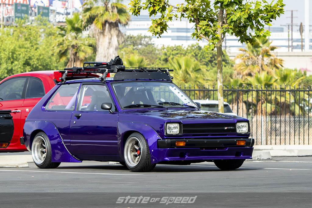 Purple classic Toyota Starlett at State of Speed Los Angeles LA