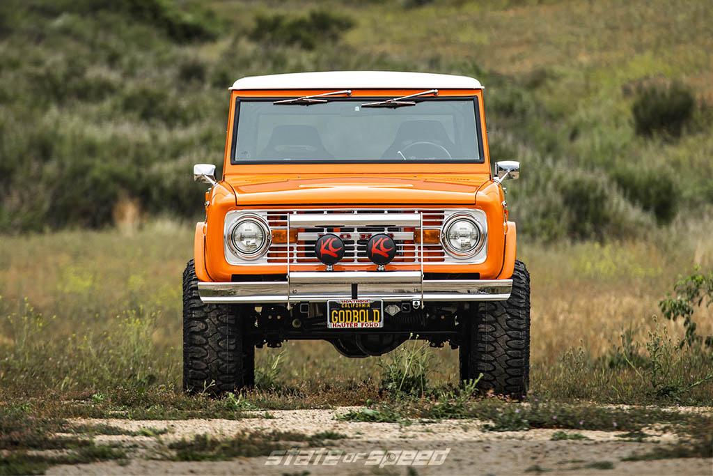 front shot of orange 1975 Ford Bronco