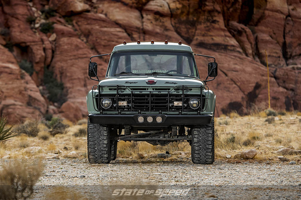 front shot of usfs work truck restored