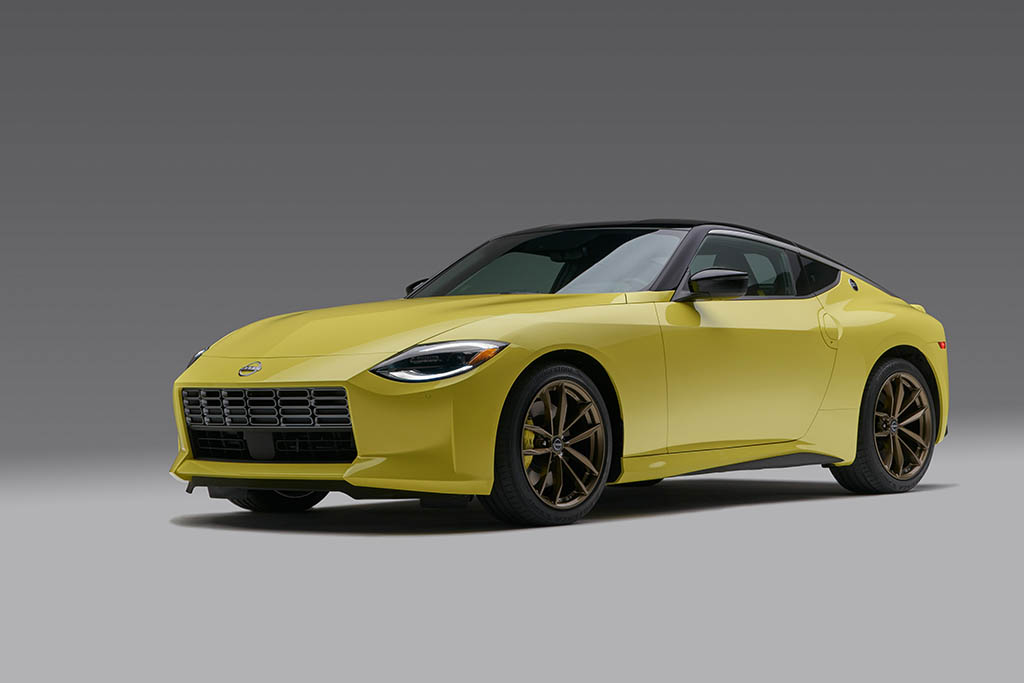front 3/4 shot of yellow 2023 nissan z