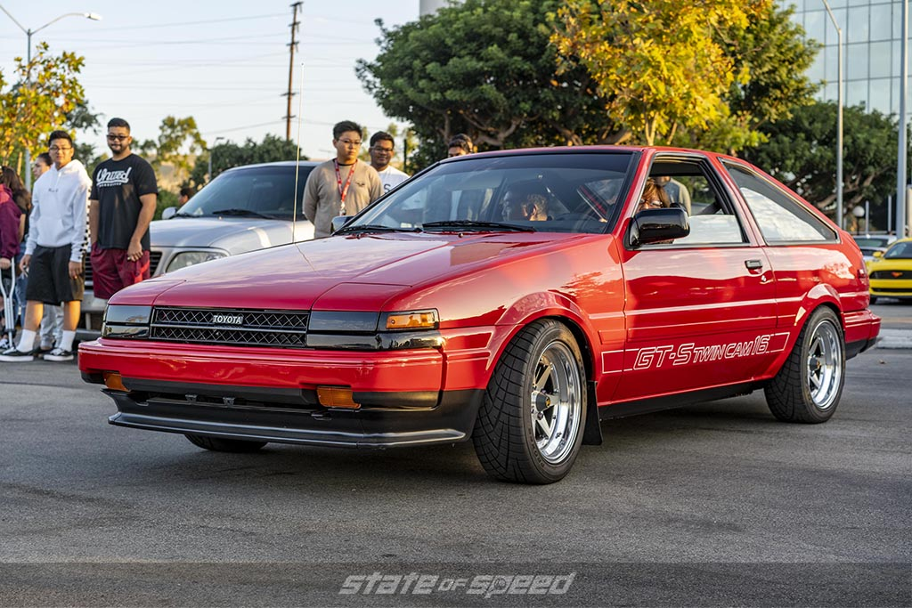 Red Toyota AE86 Corolla Levin/ Sprinter Trueno at State of Speed Los Angeles LA car meet