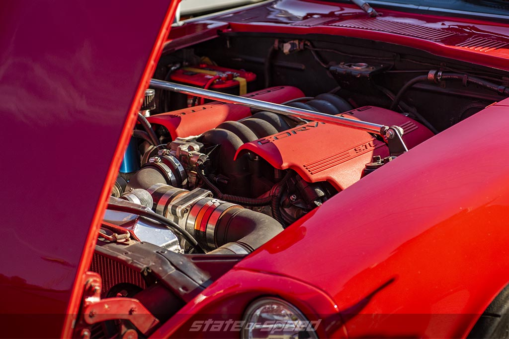 Red nissan 240Z with an LS6 V8 Engine from a corvette