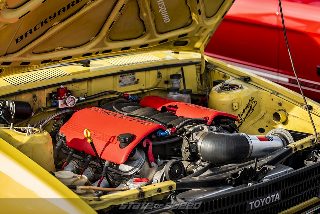 Yellow Toyota Sprinter with a Corvette LS6 Engine