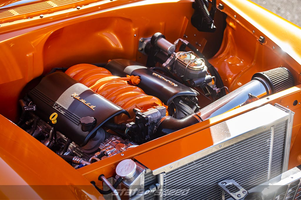 Chevy LS1 Crate Engine inside a Orange '55 Chevrolet Nomad