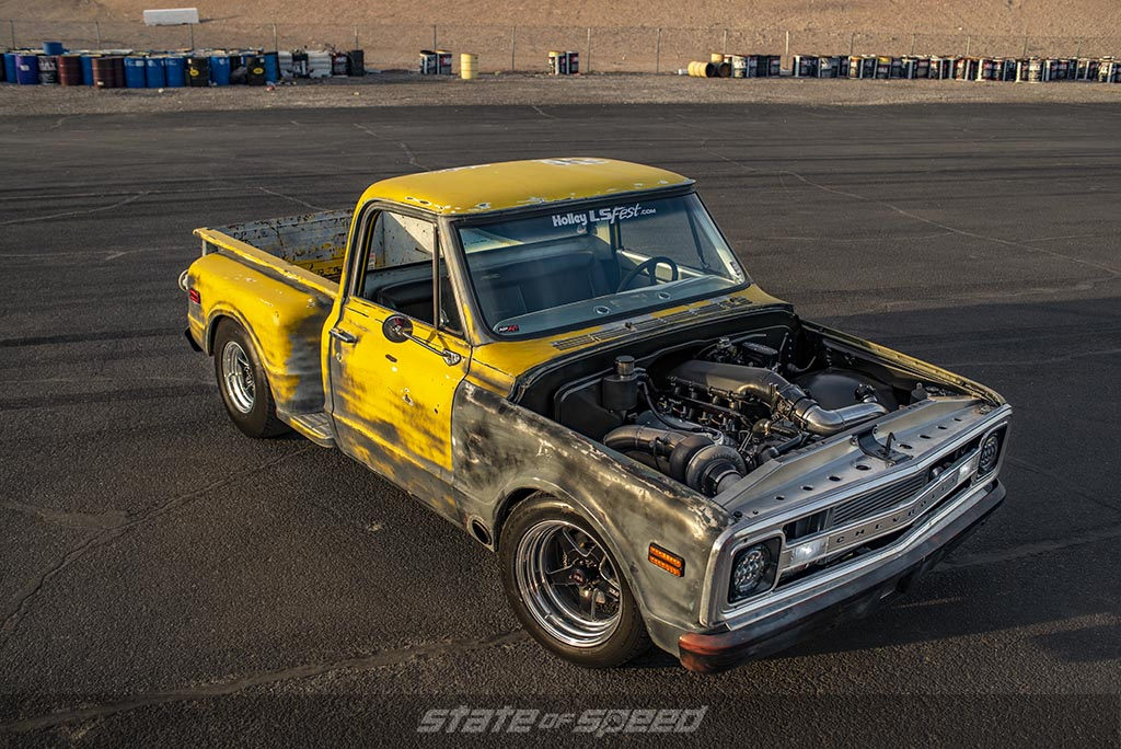 Yellow Chevy C-10 Stepside drag racer with an LS Engine swap