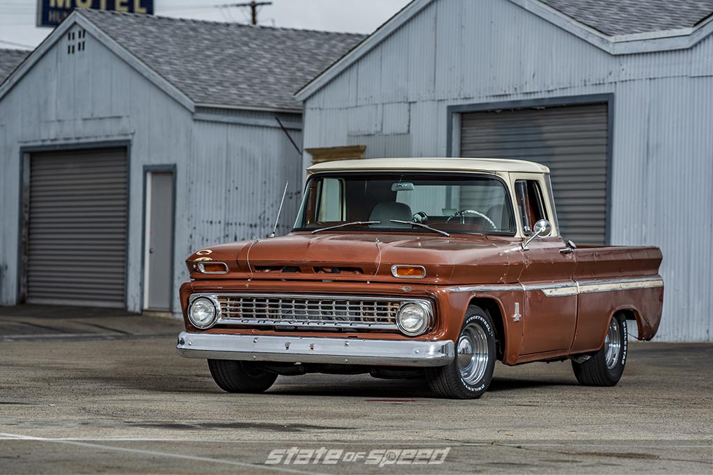 Brown '63 Chevy C-10 DWS Shop Truck on Milestar Streetsteel Tires- P235/60R15