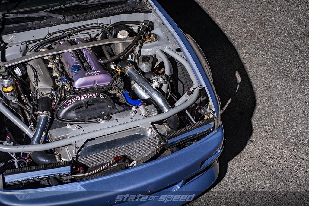 Blue nissan 240sx with a Nissan SR series engine swap