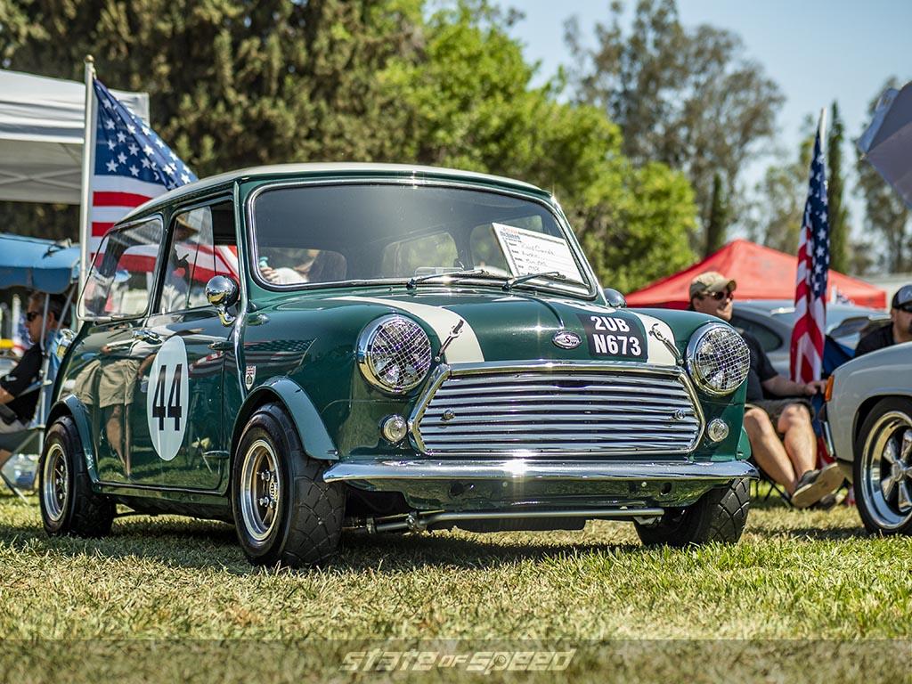 Green 1960 Austin Mini at the 2018 Steve McQueen Show in Chino Hills, California
