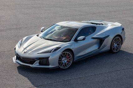 first shot of 2023 C8 Corvette Z06 in silver