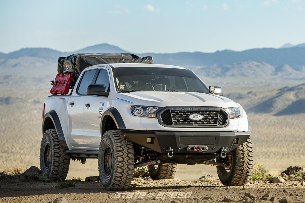 white ford ranger overland vehicle